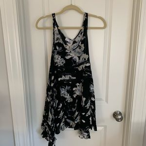 Free People black floral trapeze slip